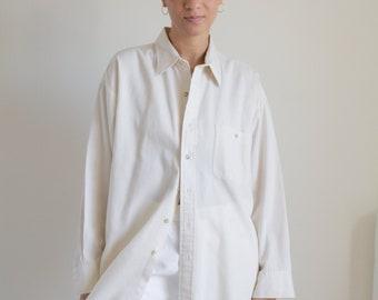 Vintage cream cotton button down shirt // XXL (2261)