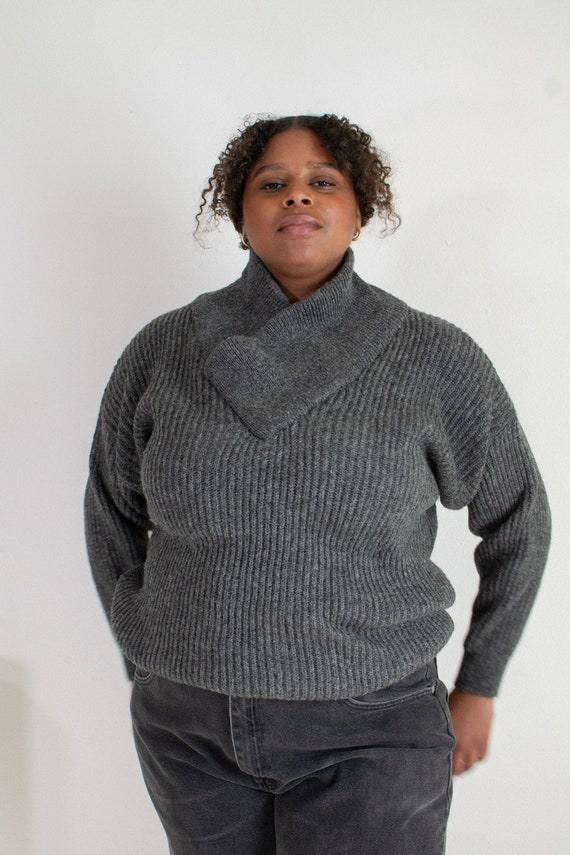 Vintage gray wool shawl collar sweater // XXL+  (1