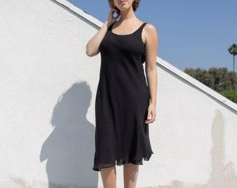 Vintage black silk midi tank dress // L (2362)