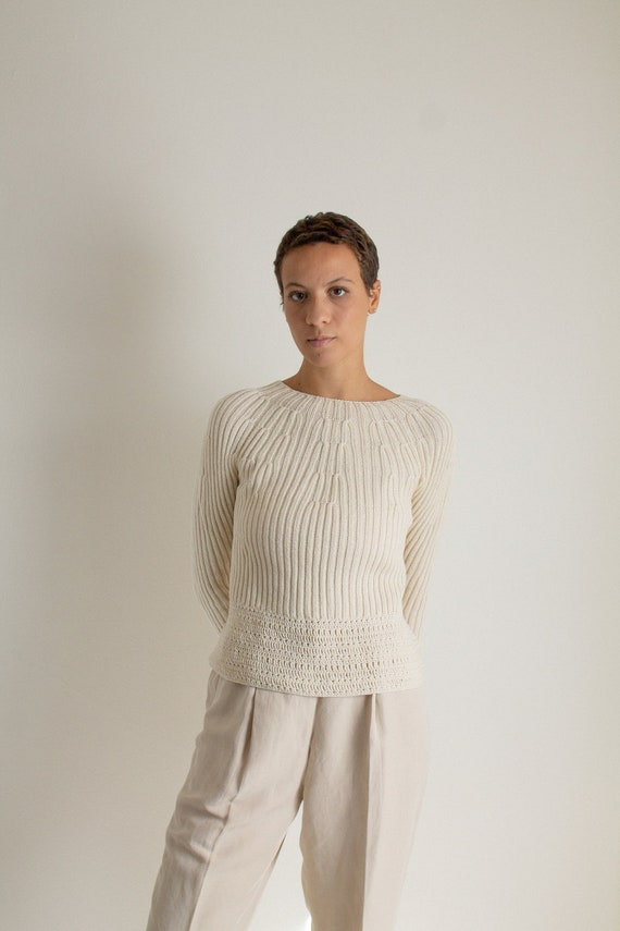 Vintage beige chunky open knit cropped sweater //