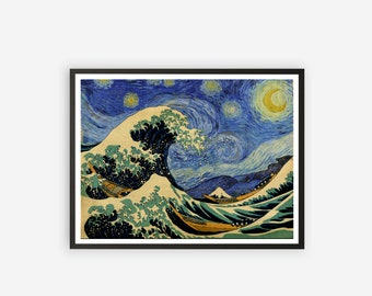 the big wave, the great wave of kanagawa, ocean blue wave, starry night, vincent van gogh