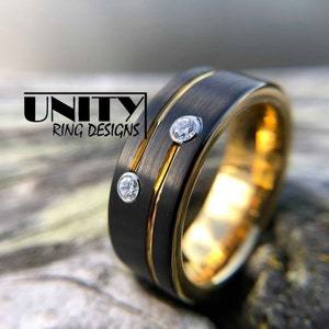 Free Personal Engraving UnityRingDesigns Men/'s Tungsten Ring Tungsten Ring Black Blue Thin Line Police Officers 8mm Wedding Band