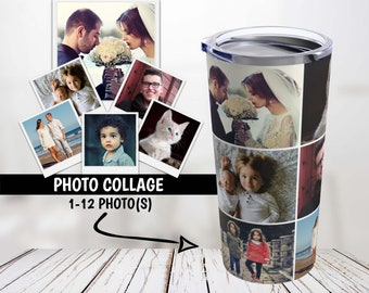 Photos Collage Tumbler, Photos Tumbler, Personalized Travel Mug, Gift for Her, Gift for Mom, Custom Pictures Tumbler, Friend Birthday Gift