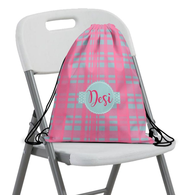 Personalized Backpack for Kids or Adults ~ Drawstring Book Bag ~ Gym Bag w Back Straps ~ 2 Sizes ~ Design Front /&or Back ~ PinkGray Plaid