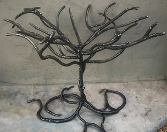 Forged Iron Tree of Life Table Base, Accent End Table, Metal Branch Furniture, Yggdrasil, Dining