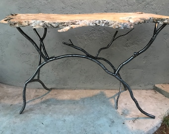 Forged Iron Branch Console Table Base, Minimalist Sofa Table Base, Rustic Modern Hall Accent Table, Base Only