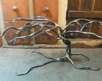 Forged Iron Twisted Leaning Tree Branch Table Base, Metal Coffee Table, End Table, Accent Table