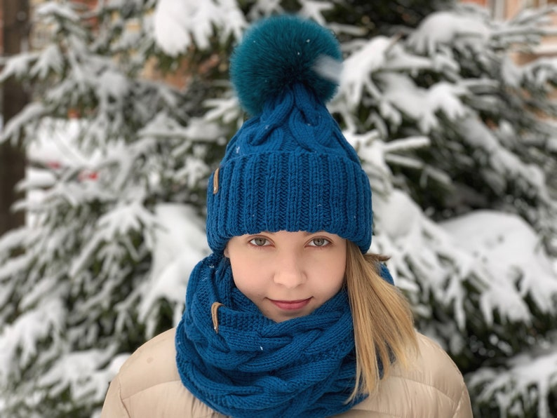 a899af073a5 Knitted Winter Women s Hat and Scarf set Merino hat set