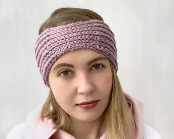 pretty in pink womens earwarmer. adult headband Pink knitted adult earwarmer