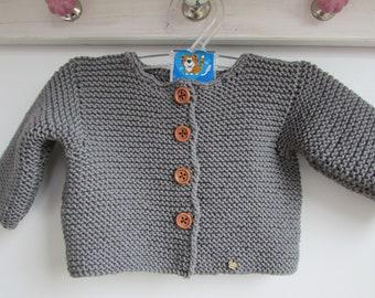 Baby cardigan size 56 merino wool