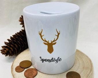 Black Forest Spardösle, 3 sizes to choose from, Black Forest Gift, Black Forest Money Box, Bollenhut Souvenir, Ceramic Piggy Bank Deer