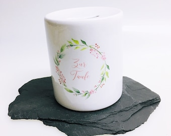 Money box for christening, money box printed with wreath for money gifts