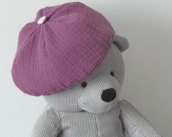 Bonnet Béret Chapeau,bébé fille,3-6 mois,automne-hiver,coton double gaze  violet,doublé imprimé rose à pois,bord côte blanc c86e99d9895