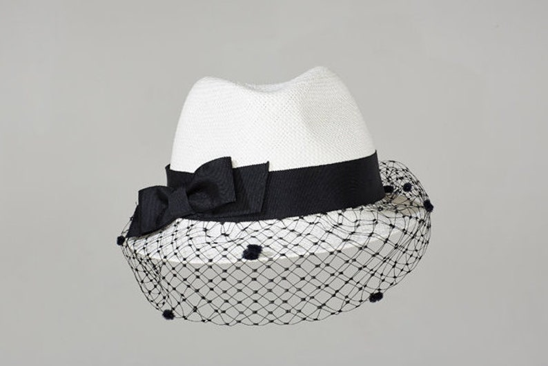 278fd2bfd10 White Trilby Misa Harada Millinery Trilby hat Ladies Hat   Etsy