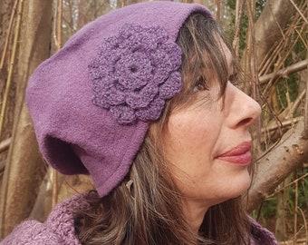 light-purple wool sloppy hat