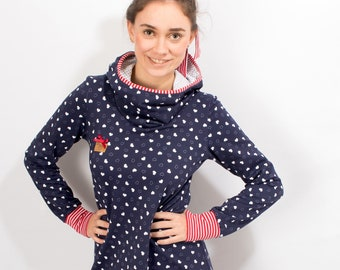 "Sweat dress ""Hanni"" navy dress A-line ladies hooded dress hearts navy hoodie dress"