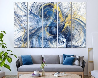 Abstract Bright Motion Composition Wall Art | Modern Futuristic Canvas  Print | Blue And Yellow Color Print | Creative Modern Large Wall Art