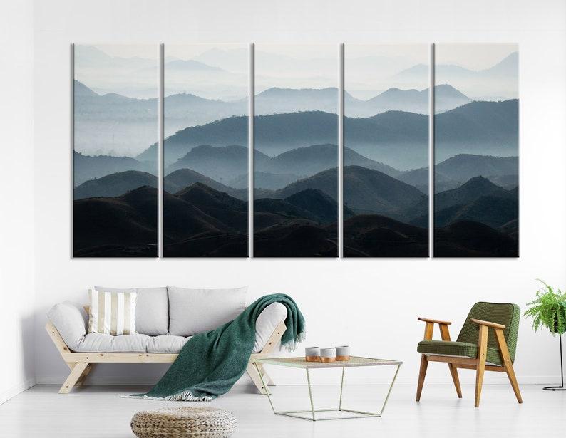 Endless Mountains Wall Art Calm Wall Decor Foggy Canvas Print Foggy Mountains Art Foggy Landscape Canvas Large Fog Art Spa Art