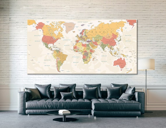 Vintage World Map Large Wall Art / Canvas Art / Art Print / Modern Print /  Canvas Art Print / Canvas Print / Wall Art / Wall Art Print