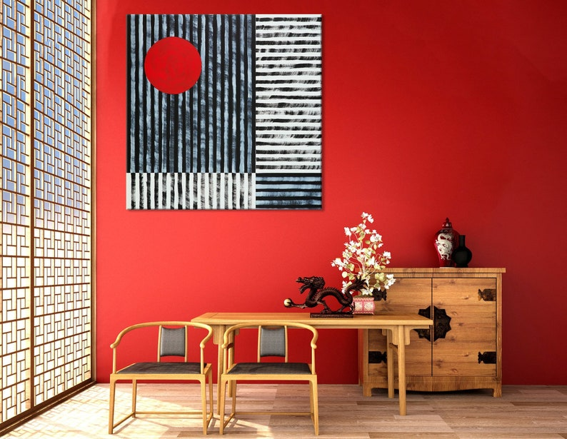 Red Wall Decor Japanese Wall Decor Black And Red Wall Art Etsy