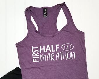 14a53b75eb90d My First Half Marathon 13.1 Racerback Tank Top   Running Shirt   Marathoner    Runner