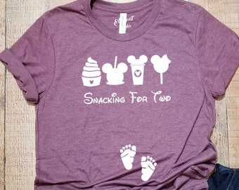 291f80f6a2729 Snacking For Two Mouse Ears Snacks / Funny Pregnancy Announcement Shirt /  Unisex Shirt Graphic Tee