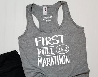 6e149e080 First Full Marathon 26.2 Racerback Tank Top   Running Shirt   Marathoner    Runner