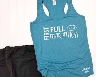 85a50898b1b44 My First Full Marathon 26.2 Racerback Tank Top   Running Shirt   Marathoner    Runner