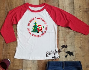 b0d9ecac Dabbing Santa | Dabbing Around The Christmas Tree | Kids Christmas Shirt |  Raglan Baseball Tee | Next Level Kids Youth Raglan