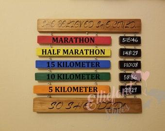 41e2da5eff8b Wooden Race PR Time Display | Couples Race Times | Running Personal Record  | Calkboard | Marathon | Half Marathon | 15k 10K 8K 5K | Ironman