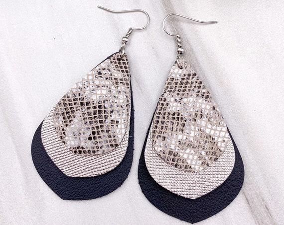 Chandelier Leather Earrings - Layered Leather Earrings, Chandelier Earrings, Black and Silver Leather Earrings