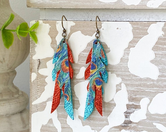 Peacock Feather Leather Earrings, Orange and Turquoise Leather Feather Earrings, Mini Feather Earrings, Boho Earrings, Boho Feathers