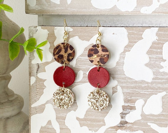 Safari Circle Leather Earrings - Genuine Leather Earrings, Leopard Earrings, Boho Earrings, Gold Glitter Earrings, Cheetah Earrings