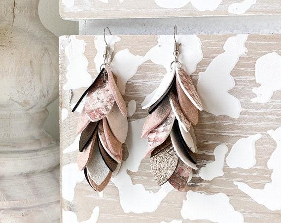 Blush & Mocha Leather Earrings, Leather Feather Earrings, Leather Fringe Earrings, Boho Earrings, Leather Leaf Earrings, 3 Inch