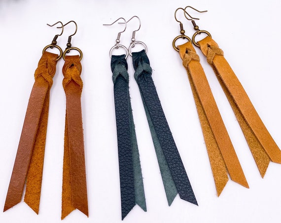 Camel Leather Braid Earrings, Brown Leather Blood Knot, Hunter Green Leather Braid, Leather Fringe, Magic Braid Leather Bar Earrings