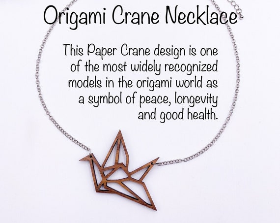 Origami Crane Necklace, Walnut Wood, Laser Cut, Laser Engraved, Peace & Good Will, Symbolic Necklace, Paper Crane, Gift For Her, Pendant