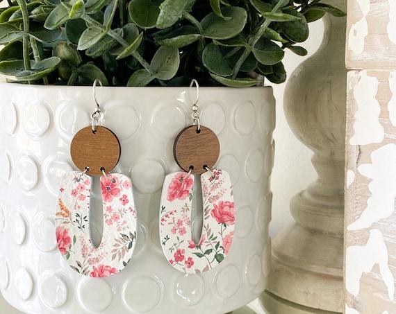 Wood and Leather Modern Earrings - Geometric Leather Earrings, Floral Leather Earrings, Leather and Wood Earrings, Boho Earrings