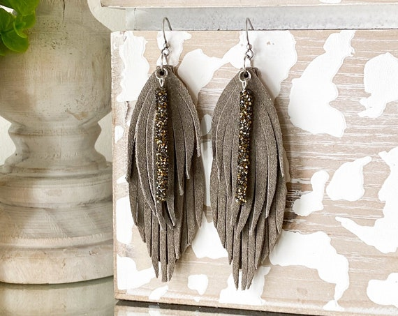 Gray Glitter Leather Feather Earrings, Leather Fringe Earrings, Suede Feather Earrings, Boho Earrings, Mocha Leather Earrings