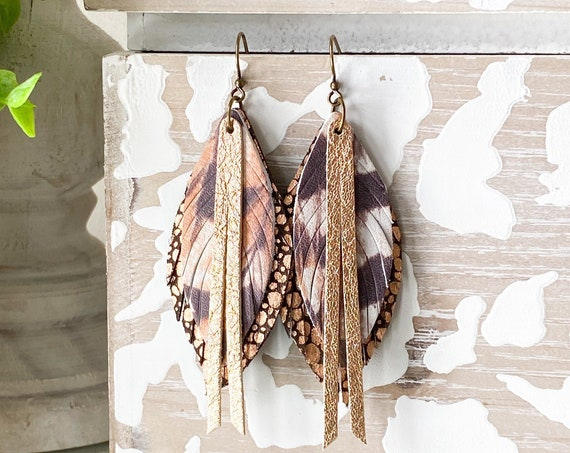 Pheasant Leather Feather Earrings, Stingray Leather Feather Earrings, Rose Gold Leather Earrings, Boho Earrings, Brown & Rose Gold Feathers