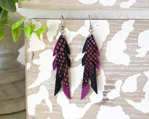 Black Raspberry Leather Feather Earrings, Feather Leather Earrings, Mini Feather Earrings, Boho Earrings, Small Leather Feathers