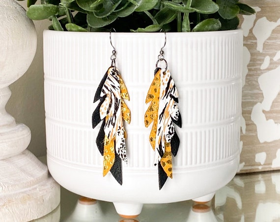 Black Gold and White Feather Leather Earrings, Gold Leather Earrings, Mini Feather Earrings, Boho Earrings, Small Leather Feathers