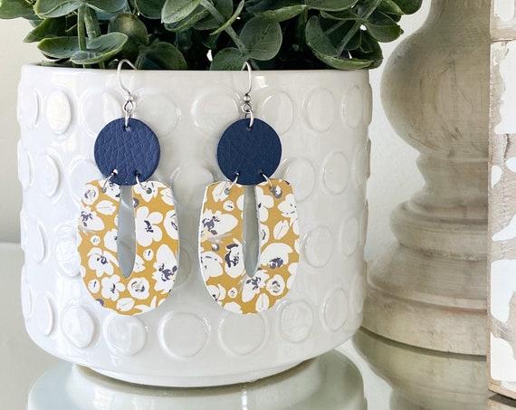 Floral Mustard Modern Leather Earrings - Geometric Leather Earrings, Navy Blue Leather Earrings, Navy Floral Boho Leather Earrings
