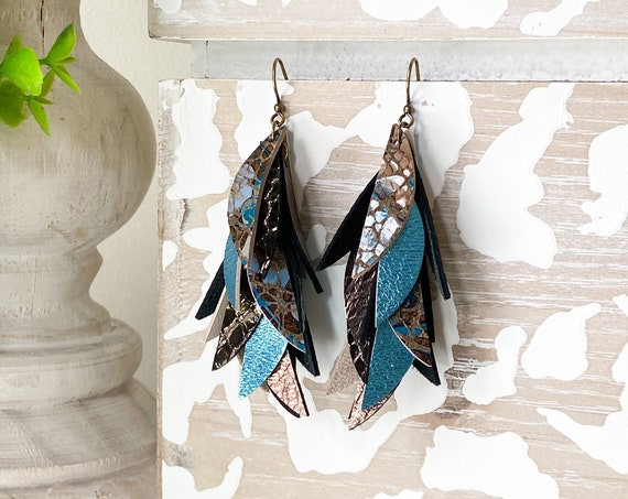 Brown & Teal Leather Earrings, Leather Feather Earrings, Leather Fringe Earrings, Boho Earrings, Leather Leaf Earrings, 3 Inch