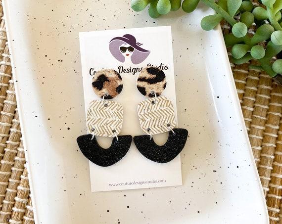 Black Glitter Leopard Modern Leather Earrings, Neutral Geometric Leather Earrings, Boho Leather Earrings, Neutral Chevron Leather Earrings