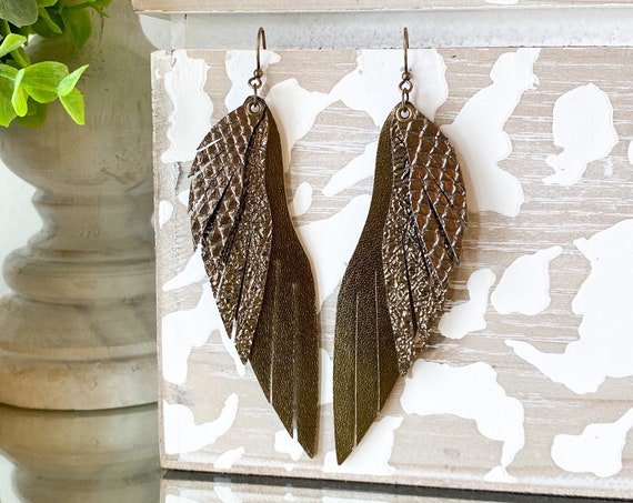 Long Leather Feather Earrings - Angel Wing Leather Earrings - Fringed Leather Feather Earrings - Bronze Feather Earrings - Boho Earrings