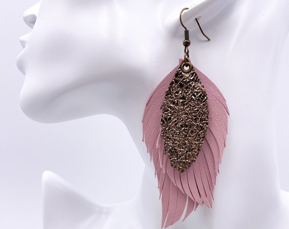 Blush Pink Leather Feather Earrings, Genuine Leather, Mocha Metallic Leather, Blush Feather Earrings, Dusty Rose Leather Feathers