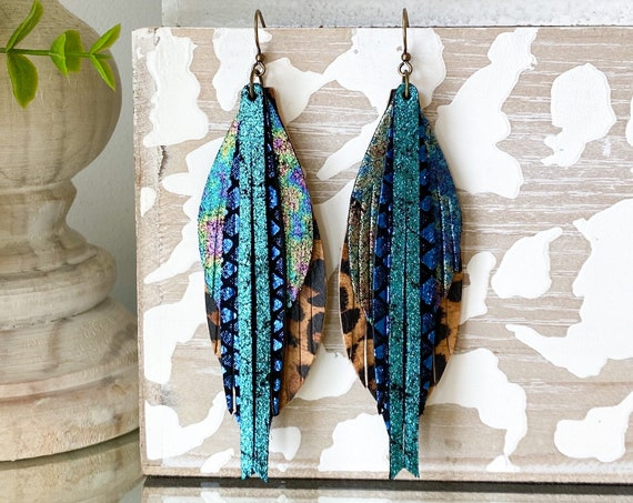 Teal Peacock Leather Feather Earrings, Leather Fringe Earrings, Cheetah Feather Earrings, Boho Earrings, Statement Leather Earrings