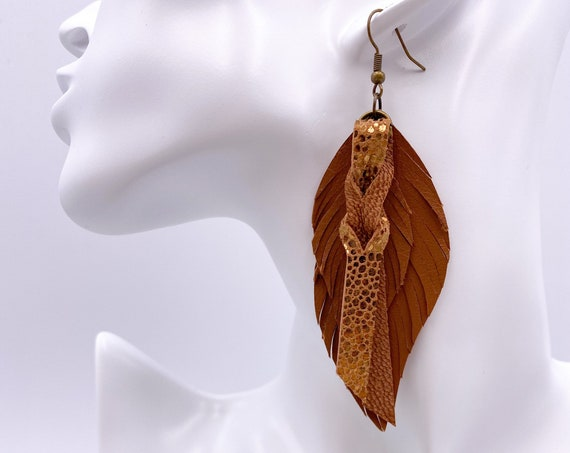 Brown Leather Feather Earrings - Leather Feather Earrings, Brown and Gold Feather Earrings, Genuine Leather Feather Earrings