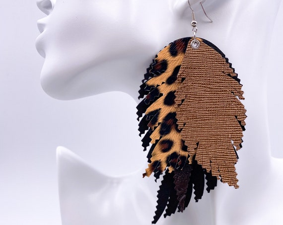 Bronze Cheetah Faux Leather Feather Earrings, Leather Feathers, Black, Bronze, Cheetah Print, Layered Feather, Boho Leather