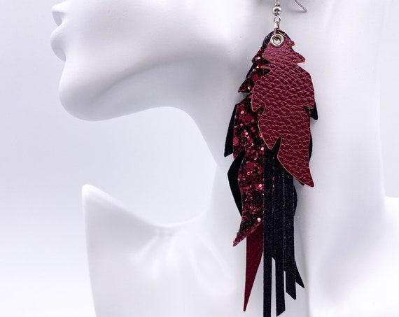 Burgundy Glitter Feather Earrings - Faux Leather Feather Earrings, Large Sparkly Earrings, Black Feather Earrings, Glitter Earrings
